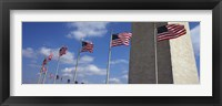 Framed American flags in front of an obelisk, Washington Monument, Washington DC, USA
