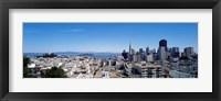Framed High angle view of a city, Coit Tower, Telegraph Hill, Bay Bridge, San Francisco, California, USA