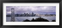 Framed Bridge across a bay with city skyline in the background, Bay Bridge, San Francisco Bay, San Francisco, California, USA