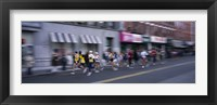 Framed People running in New York City Marathon, Manhattan Avenue, Greenpoint, Brooklyn, New York City, New York State, USA
