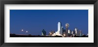 Framed Nighttime View of Dallas Skyline with Reunion Tower