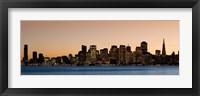 Framed Buildings lit up at dusk, San Francisco, California, USA 2010