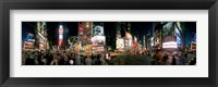 Framed 360 degree view of buildings lit up at night, Times Square, Manhattan, New York City, New York State, USA