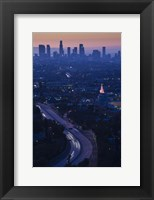 Framed High angle view of highway 101 at dawn, Hollywood Freeway, Hollywood, Los Angeles, California, USA