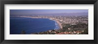 Framed Aerial view of a city at coast, Santa Monica Beach, Beverly Hills, Los Angeles County, California, USA