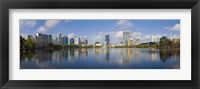 Framed Reflection of buildings in a lake, Lake Eola, Orlando, Orange County, Florida, USA 2010