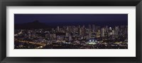 Framed High angle view of a city lit up at night, Honolulu, Oahu, Honolulu County, Hawaii, USA