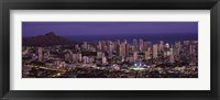 Framed High angle view of a city lit up at dusk, Honolulu, Oahu, Honolulu County, Hawaii