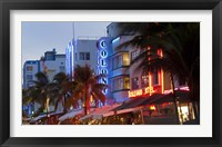 Framed Hotels lit up at dusk in a city, Miami, Miami-Dade County, Florida, USA