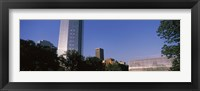 Framed Low angle view of the Devon Tower and Crystal Bridge Tropical Conservatory, Oklahoma City, Oklahoma, USA