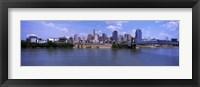 Framed Paul Brown Stadium with John A. Roebling Suspension Bridge along the Ohio River, Cincinnati, Hamilton County, Ohio, USA