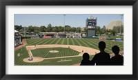 Framed Spectator watching a baseball match at stadium, Raley Field, West Sacramento, Yolo County, California, USA