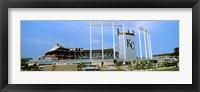 Framed Baseball stadium in a city, Kauffman Stadium, Kansas City, Missouri