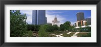 Framed Botanical garden with skyscrapers in the background, Myriad Botanical Gardens, Oklahoma City, Oklahoma, USA