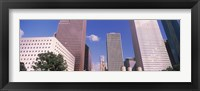 Framed Low angle view of Downtown skylines, Houston, Texas, USA