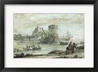Framed Figures in a Landscape before a Harbor