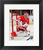Framed Jimmy Howard Gaurding Hockey Goal