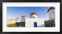 Framed Traditional windmill in a village, Mykonos, Greece