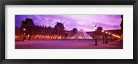 Framed Famous Museum, Sunset, Lit Up At Night, Louvre, Paris, France