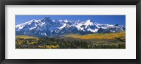 Framed Mountains covered in snow, Sneffels Range, Colorado, USA