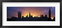 Framed Sunset Houses of Parliament & Big Ben London England