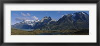 Framed Lake in front of mountains, Jagged Peaks, Lago Nordenskjold, Torres Del Paine National Park, Patagonia, Chile