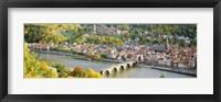 Framed Aerial view of Heidelberg Castle and city, Heidelberg, Baden-Wurttemberg, Germany