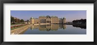 Framed Austria, Vienna, Belvedere Palace, View of a manmade lake outside a vintage building