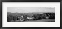 Framed High angle view of barns in a field, Peacham, Vermont (black and white)