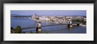 Framed Aerial View, Bridge, Cityscape, Danube River, Budapest, Hungary