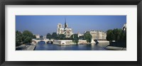 Framed Cathedral along a river, Notre Dame Cathedral, Seine River, Paris, France