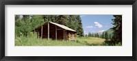 Framed Log Cabin In A Field, Kenai Peninsula, Alaska, USA