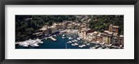 Framed High angle view of boats docked at a harbor, Italian Riviera, Portofino, Italy