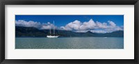 Framed Sailboat in a bay, Kaneohe Bay, Oahu, Hawaii, USA