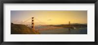 Framed Golden Gate Bridge with Golden Sky, San Francisco, California, USA