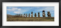 Framed Low angle view of Moai statues in a row, Easter Island, Chile