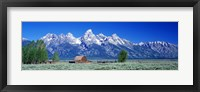 Framed Barn On Plain Before Mountains, Grand Teton National Park, Wyoming, USA