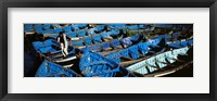 Framed High angle view of boats docked at a port, Essaouira, Morocco