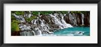Framed Waterfall In A Forest, Hraunfoss Waterfall, Iceland