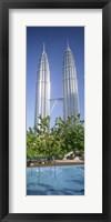 Framed Malaysia, Kuala Lumpur, View of Petronas Twin Towers