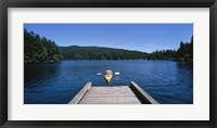 Framed Rear view of a man on a kayak in a river, Orcas Island, Washington State, USA