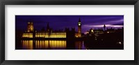 Framed Government Building Lit Up At Night, Big Ben And The House Of Parliament, London, England, United Kingdom