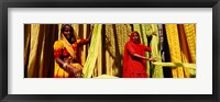Framed Portrait of two mature women working in a textile industry, Rajasthan, India