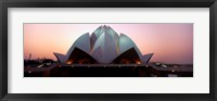 Framed Temple lit up at dusk, Lotus Temple, Delhi, India