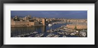 Framed High angle view of boats docked at a port, Old Port, Marseille, Bouches-Du-Rhone, Provence-Alpes-Cote Daze, France