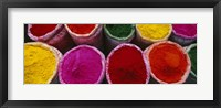 Framed High angle view of various powder paints, Braj, Mathura, Uttar Pradesh, India