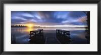 Framed Panoramic view of a pier at dusk, Vuoksi River, Imatra, Finland
