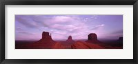 Framed Buttes at sunset, The Mittens, Merrick Butte, Monument Valley, Arizona, USA
