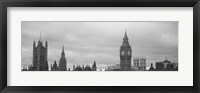 Framed Buildings in a city, Big Ben, Houses Of Parliament, Westminster, London, England (black and white)