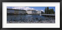 Framed Buildings at the waterfront, Rhone River, Geneva, Switzerland